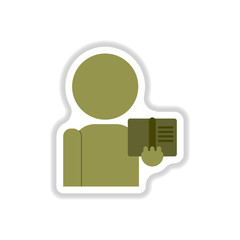Vector illustration in paper sticker style man silhouette holding book