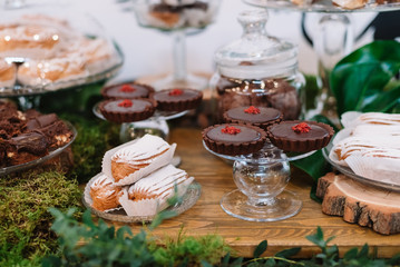 Delicious sweet cupcakes and candies, decorated in wedding style