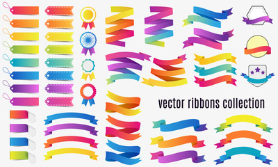 Set of Colorful Banners and ribbons on white background. Vector design collection.