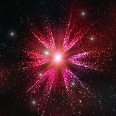 Abstract vector space background. Explosion of glowing particles. Christmas star. Futuristic technology style. Elegant background for business presentations or gift cards.EPS10