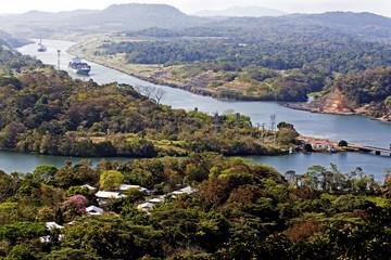 Ships navigate the Panama canal