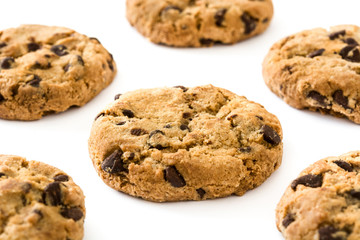 Keuken foto achterwand Eten Chocolate chip cookies isolated on white background