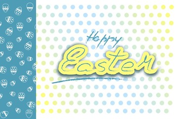HAPPY EASTER YELLOW BLUE