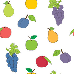 Seamless picture with a set of fruit. The vector drawing