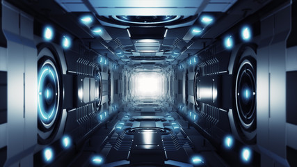 3d illustration futuristic design space ship interior infinite corridor