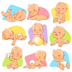 Cute little baby girl or boy in diaper. Child in different situations, sleeping, sitting, crawling, eating, playing with ball. Happy newborn. Toddler with bottle of milk. Vector illustration.