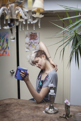 Young woman hanging out in her apartment