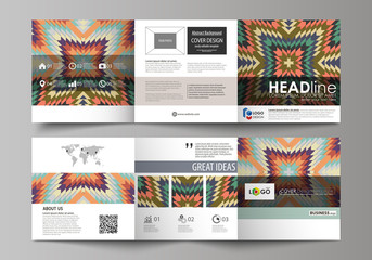 Set of business templates for tri fold square design brochures. Leaflet cover, abstract vector layout. Tribal pattern, geometrical ornament in ethno syle, ethnic backdrop, vintage fashion background.