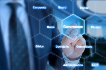 Hexagon grid governance click from businessman
