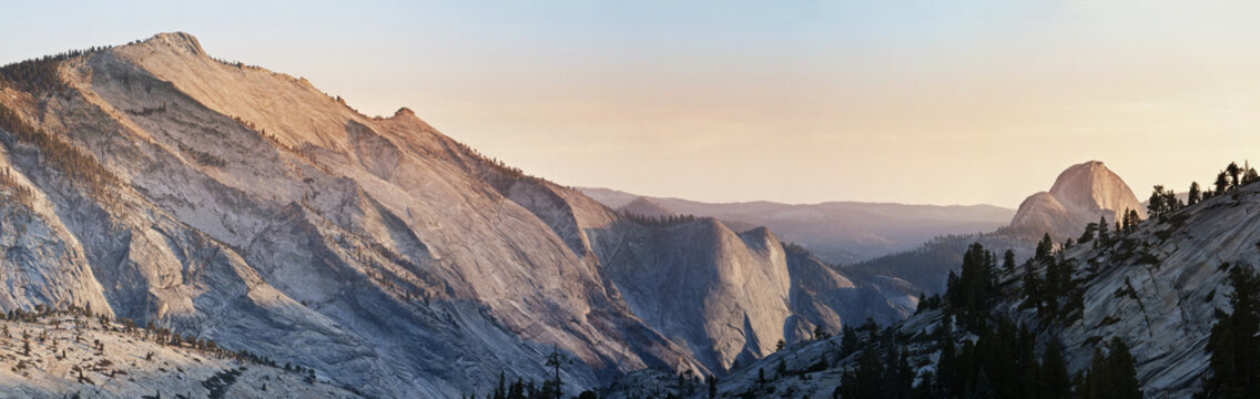 Panoramic view over a Half Dome at Yosemite National Park