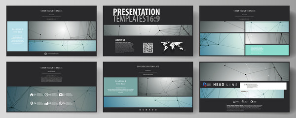 Business templates in HD format for presentation slides. Vector layouts in flat design. Geometric background, connected line and dots. Molecular structure. Scientific, medical, technology concept.