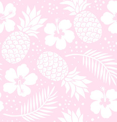 Seamless pineapple and hibiscus pattern. Pink.