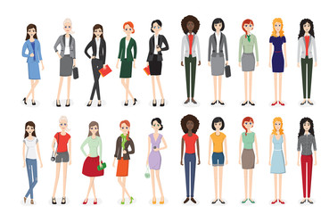 Set of working people standing. Business men and business women in flat design people characters.