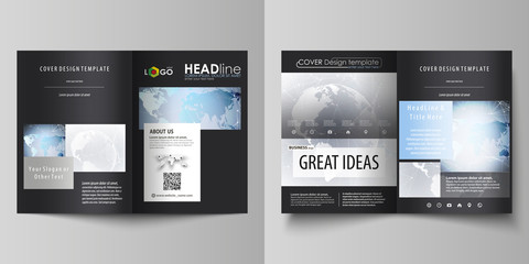 The black colored vector illustration of the editable layout of two A4 format modern covers design templates for brochure, flyer, booklet. Technology concept. Molecule structure, connecting background