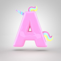 Cute unicorn pink letter A uppercase