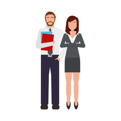 business couple avatars characters icon vector illustration design