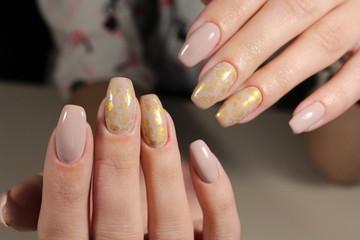 Cream manicure design
