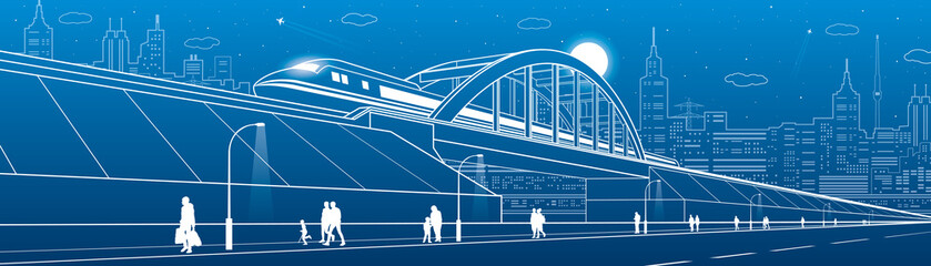 Train move on the railway bridge, highway. People walking. Urban infrastructure image, modern city on background, industrial architecture, towers and skyscrapers, airplane fly. Vector design art