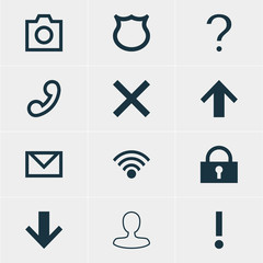Vector Illustration Of 12 Interface Icons. Editable Pack Of Handset, Padlock , Downward Elements.