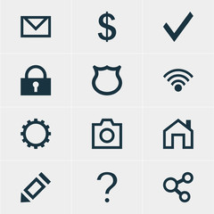 Vector Illustration Of 12 Member Icons. Editable Pack Of Publish, Cogwheel, Snapshot And Other Elements.
