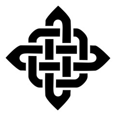 Celtic style square type element based on eternity knot patterns in black on white background  inspired by Irish St Patricks Day, and Irish and Scottish carving art