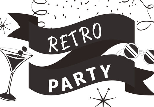 Black and White Retro Illustrated Logo 1