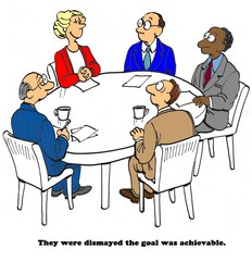 Business cartoon of successful woman and senior management 'they were dismayed the goal was achievable'.