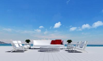 Beach lounge and white sofa design