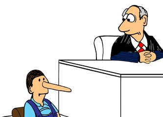 Legal illustration showing a witness not telling the truth.