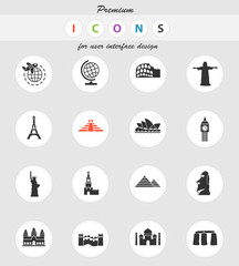 travel and wonders icon set