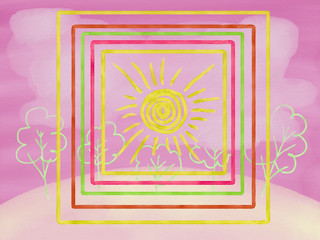 Colorful bright frame with nature, geometrical shapes and drawn sun for greeting card painted by watercolor and oil color, hand drawn illustration on the pink background, high quality