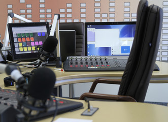 Radio station. Microphone in a recording studio