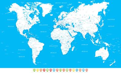 Foto op Plexiglas Wereldkaart White Blue World Map and Navigation Icons