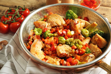 Chicken stir fry with vegetables in pan