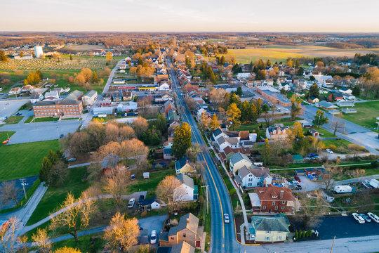 Aerial view of Main Street, in Shrewsbury, Pennsylvania.