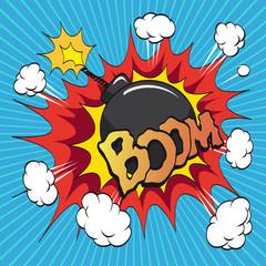 Comics boom. Bomb. Hand drawn vector illustration