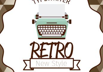Retro Typewriter Logo Layout with Background