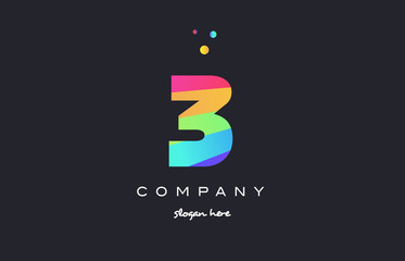 3 three colored rainbow creative number digit numeral logo icon