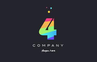 4 four colored rainbow creative number digit numeral logo icon