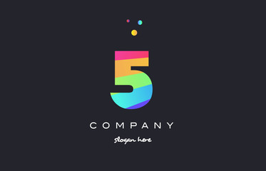 5 five colored rainbow creative number digit numeral logo icon