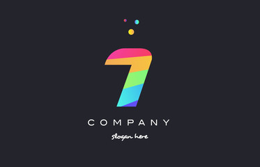7 seven colored rainbow creative number digit numeral logo icon