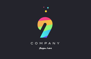 9 nine colored rainbow creative number digit numeral logo icon