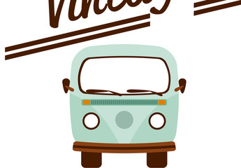 Retro Van Logo Layout with Background