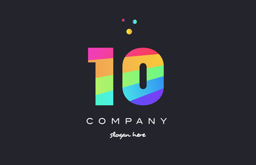 10 ten colored rainbow creative number digit numeral logo icon