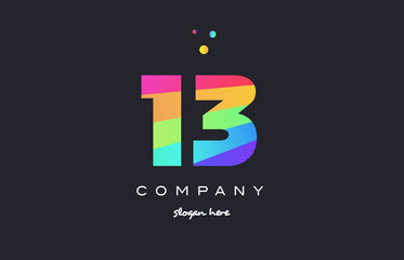 13 thirteen colored rainbow creative number digit numeral logo icon
