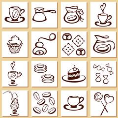 Коллекция кофейных иконок в линейном стиле. На белом фоне. EPS 10.