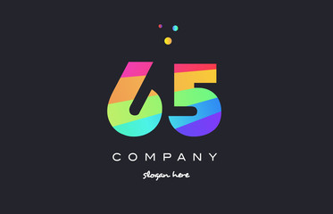 65 sixty five colored rainbow creative number digit numeral logo icon