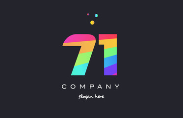 71 seventy one colored rainbow creative number digit numeral logo icon