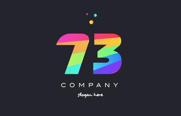 73 seventy three colored rainbow creative number digit numeral logo icon
