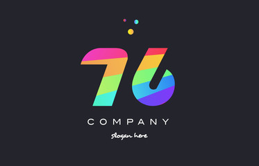 76 seventy six colored rainbow creative number digit numeral logo icon